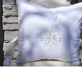 monogrammed white linen pillow sham