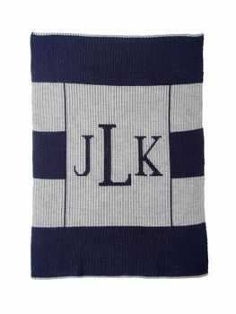 multi striped monogram blanket