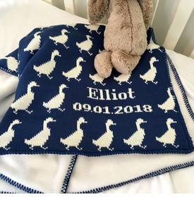 navy ducks baby blanket
