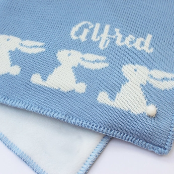 personalized baby boy bunny blanket