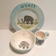 personalized baby elephant 3 piece dish set