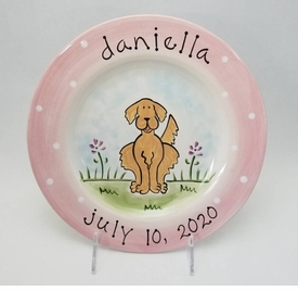 personalized baby girl puppy plate