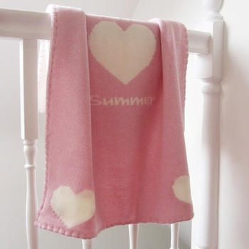 Personalized Baby Girls Heart Blanket