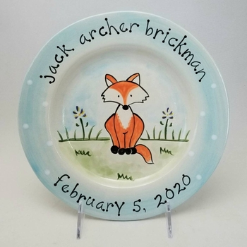 personalized baby plate fox