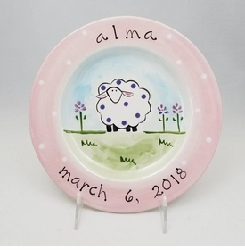 personalized baby sheep plate with flowers