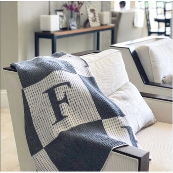 personalized blanket with colorblock initials