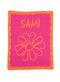 personalized  blanket with name, flower and scalloped edge