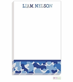 personalized - blue camo notepad