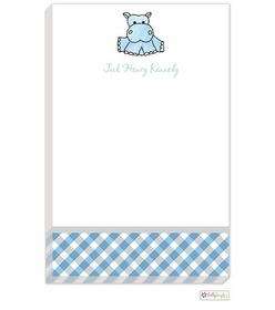personalized - blue hippo notepad
