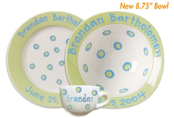 Personalized Ceramic Baby Cup Bowl Plate Set