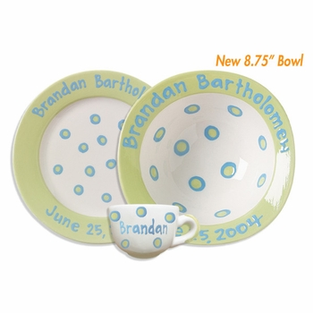 personalized ceramic baby cup, bowl & plate set
