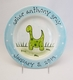 personalized dinosaur baby plate