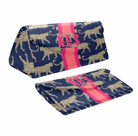 Personalized Eyeglass Case - Leopard (Navy)