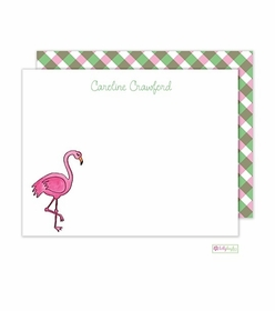 personalized - fancy flamingo flat notes