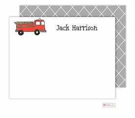 personalized - firetruck flat notes
