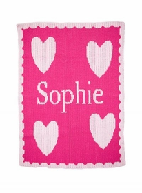 personalized full name blanket and multiple hearts and scalloped edge