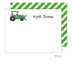 personalized - green tractor flat notes