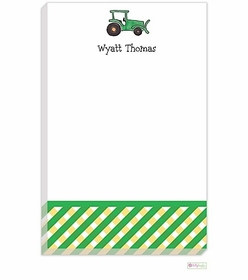 personalized - green tractor notepad