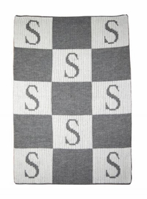 personalized initial and block stroller blanket