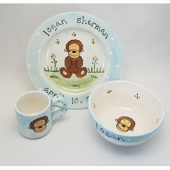 personalized baby monkey 3 piece dish set