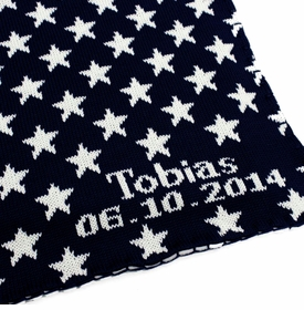 personalized navy stars baby blanket