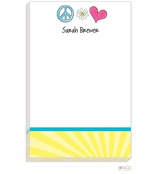 personalized - peace and love notepad