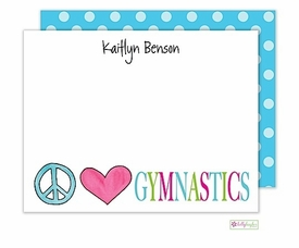 personalized - peace love gymnastics flat notes
