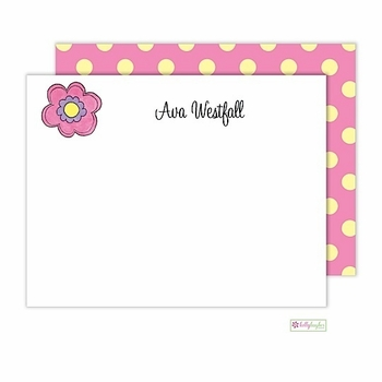 personalized - pink daisy flat notes