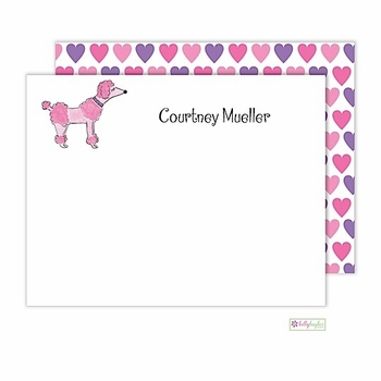 personalized - pink poodle flat notes