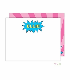 personalized - pink superhero flat notes