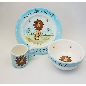 personalized safari lion baby plate