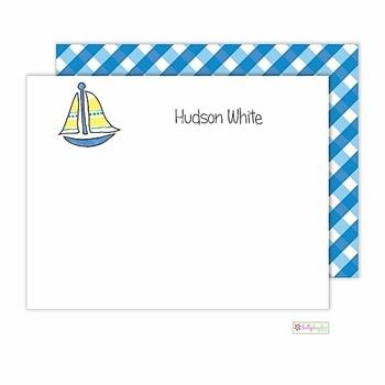 personalized - sailboat flat notes