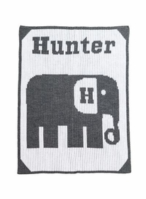 personalized stroller blanket with elephant