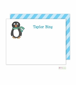 personalized - winter penguin flat notes