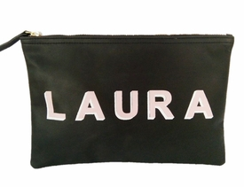 shadow monogram black flat clutch