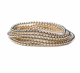 14k gold signature beaded stack