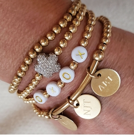 single bar of gold beaded bracelet with personalized discs