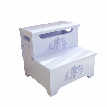 step stool with rose applique