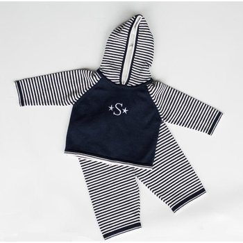 striped sleeve zip back hoodie / pant set