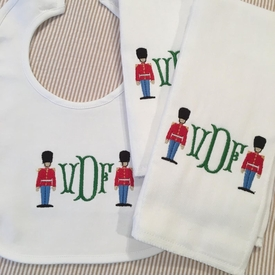 toy soldiers baby bib and burp cloth set