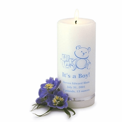 Birth Announcement Personalized Candle - It's a Boy