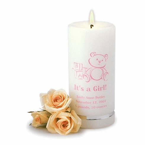 Birth Announcement Personalized Candle - It's a Girl