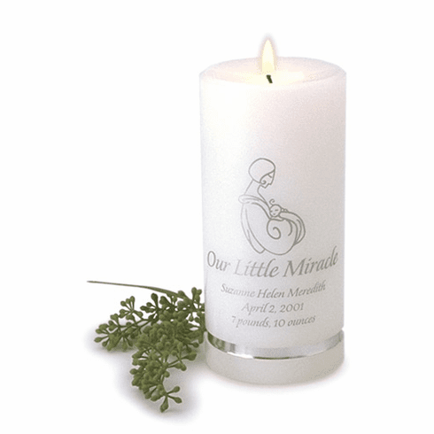 Birth Announcement Personalized Candle - Our Little Miracle