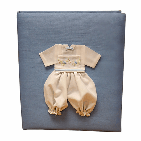 Boy Embroidered Batiste Personalized Baby Memory Book