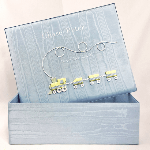 Choo Choo Train Personalized Baby Keepsake Box - Large