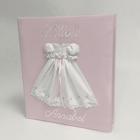 Embroidered Batiste Gown Personalized Baby Memory Book