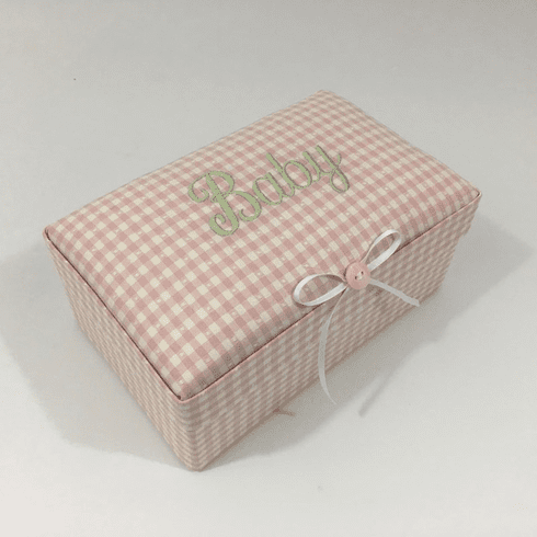 Gingham Check Personalized Baby Keepsake Box - Small