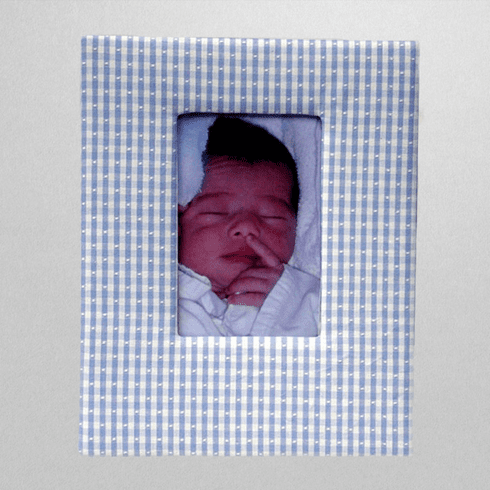 Gingham Check Personalized Baby Picture Frame