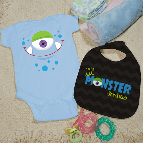 Lil Monster Personalized Baby Onesie and Bib Set