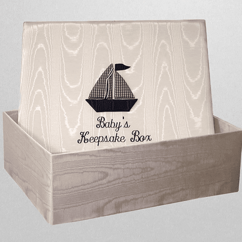 Navy Sailboat Personalized Baby Keepsake Box - Large